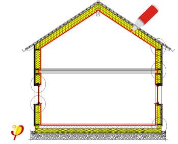Termički omotač kod pasivne kuće prikazan žutom linijom, vazdušnonepropusni sloj prikazan crvenom linijom