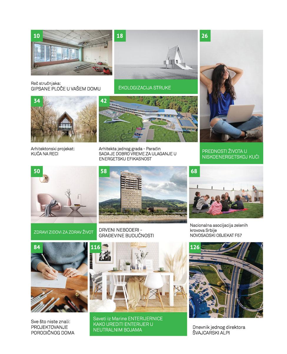 Časopis GRENEF - Građevinarstvo & Energetska Efikasnost broj 10, jul 2020 - sadržaj