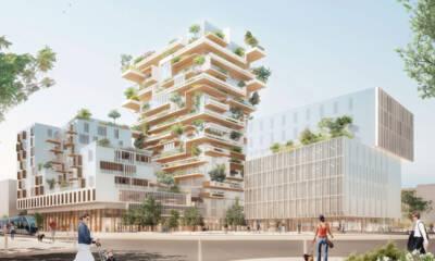 Hyperion toranj - glavni izvođač kompanija Eiffage Construction, koristi drvenu konstrukciju od lokalne drvene građe